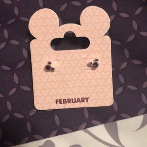 Mickey Mouse earrings with February birthstone
